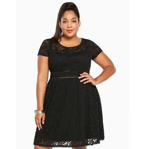 Torrid Black Lace Scoop Skater Dress